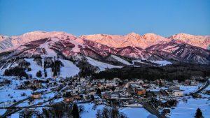 Sunrise over Hakuba Valley Ski Town.