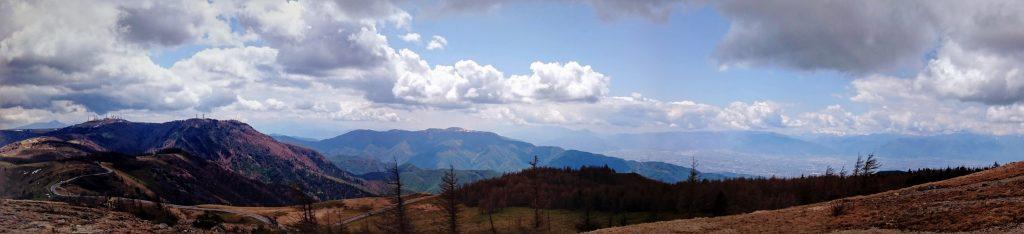 Panorama of the Utsukushigahara, Matsumoto below, and the Japanese Alps.
