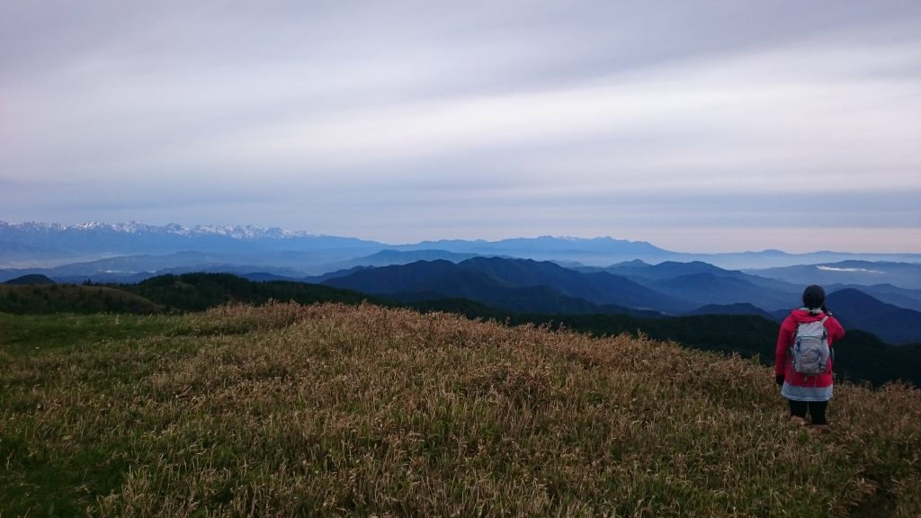 Gazing at the Japanese Alps from atop the grassy alpine bamboo of the Utsukushigahara Highlands.