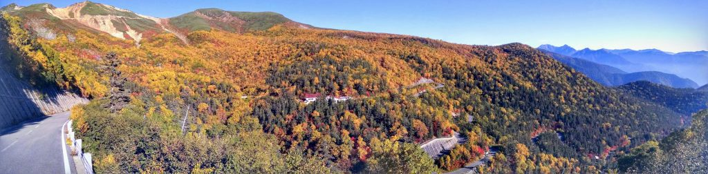 The snaking switchbacks and stunning fall foliage on Mt Norikura in late September.