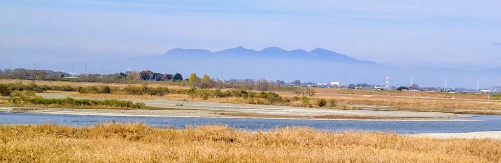 Mount Akagi from the Tone River Cycling Road