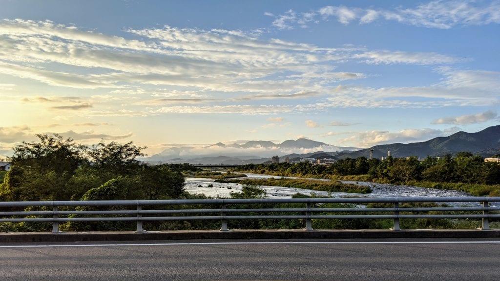 Views of Mount Akagi from the Kiryu Bridge.