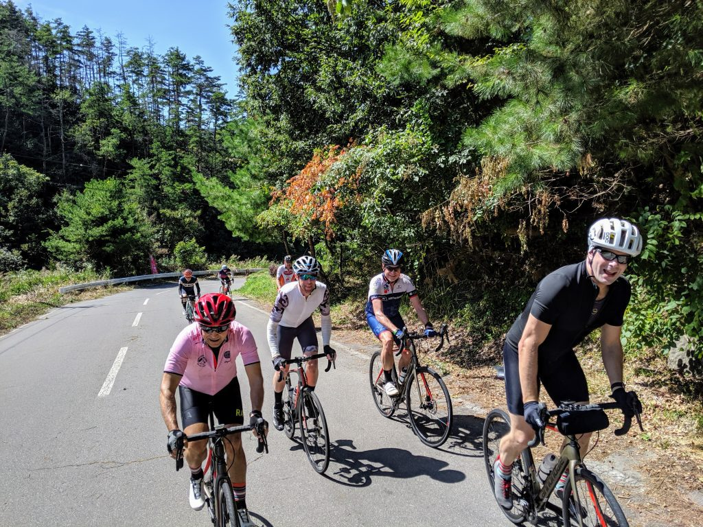 cyclists climbing on road bikes