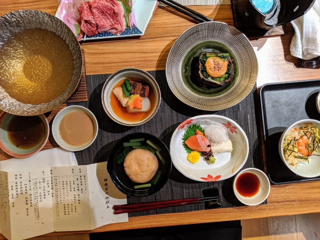 A fall kaiseki with local Wagyu beef, local pork and yuba stew, fresh grilled vegetables, and today Sashimi.