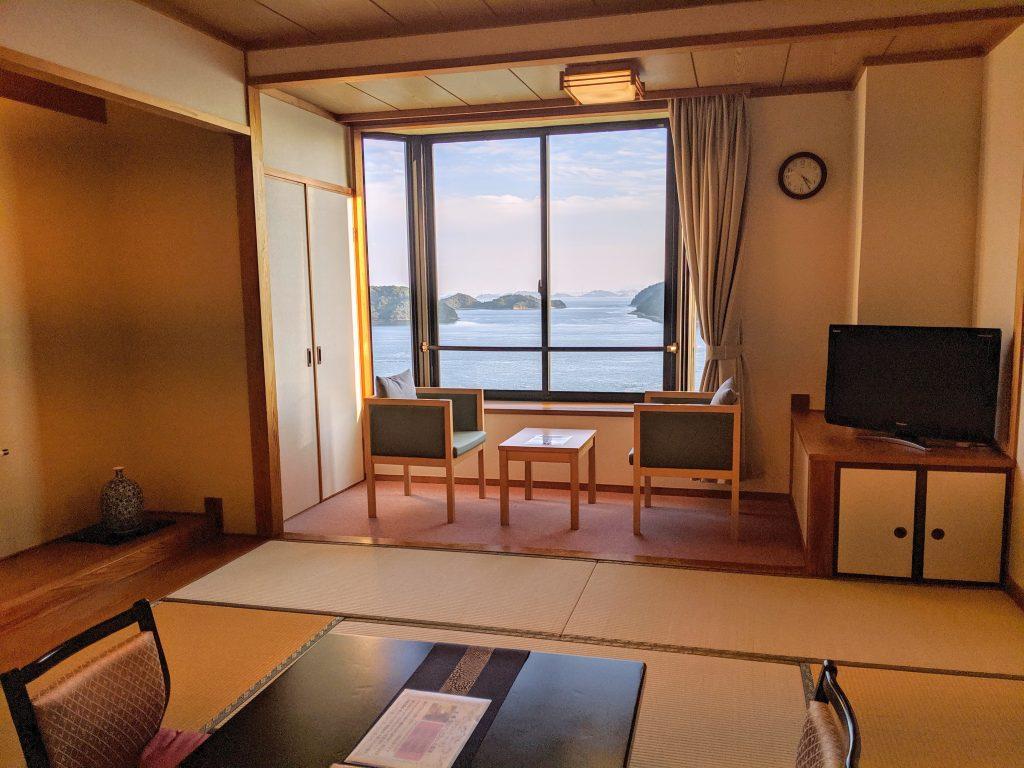 A washitsu room with panoramic views of the setouchi sea.