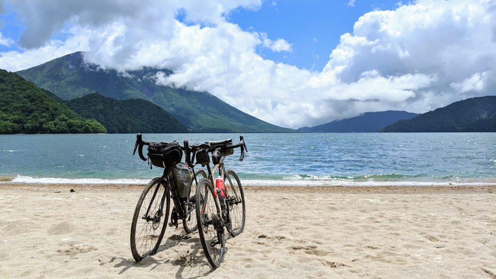 The sandy shores of Lake Chuzenji in Nikko National Park.