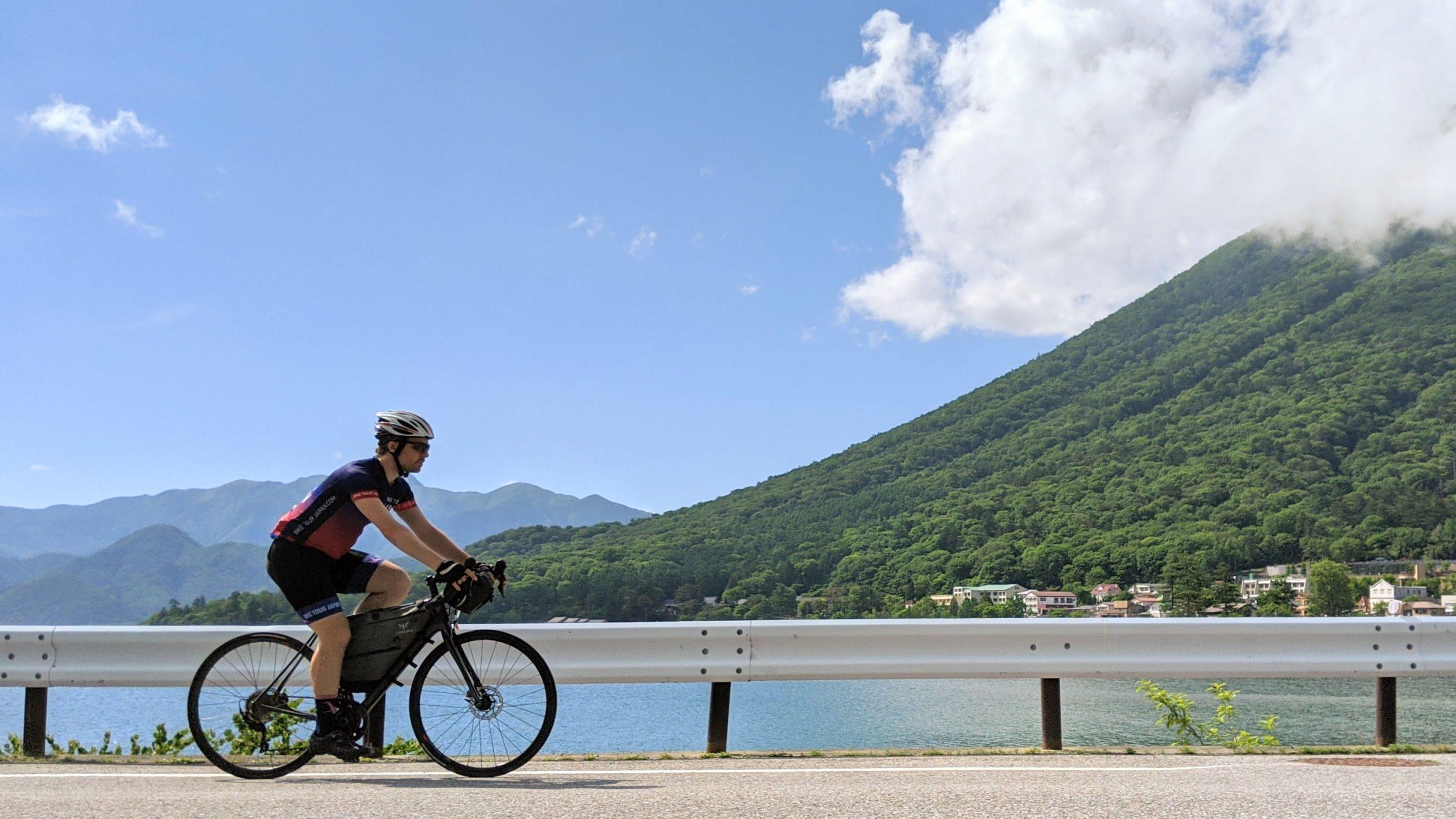 Riding the shores of Lake Chuzenji by the slopes of Mt Nantai.