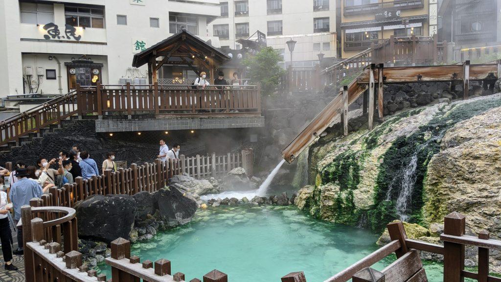 The famous hot spring source Yubatake of Kusatsu Onsen Town.