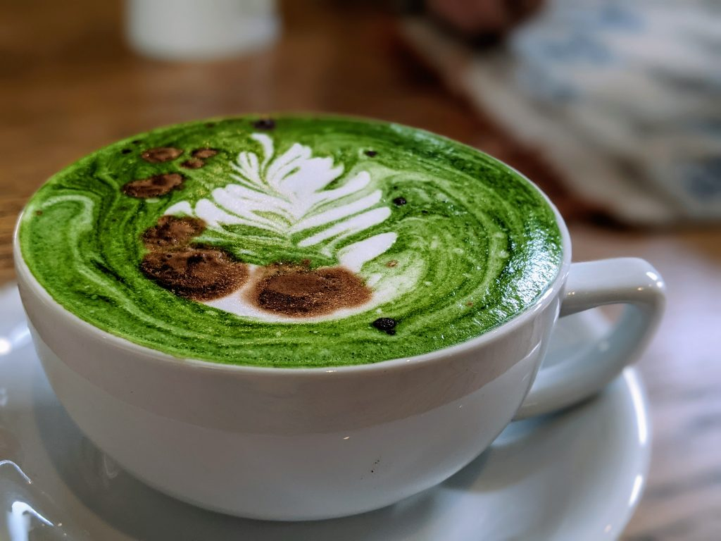 East meets West in this amazing fusion drink, the camo latte. Part espresso, part matcha tea, full flavor!