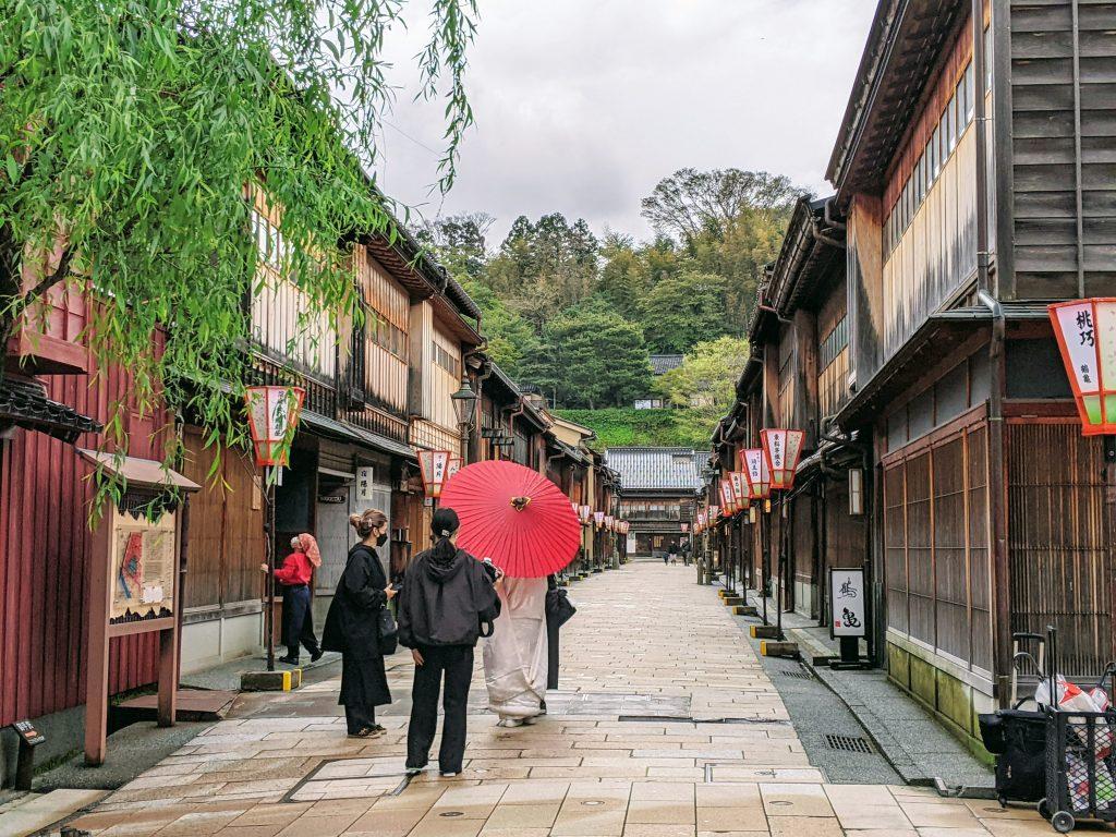 A true rarity, virtually empty streets of the Higashi Chaya historic district in Kanazawa.
