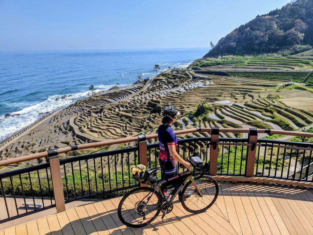 Michelle taking in the views of the Shiroyone Senmaida Rice Terraces along the Noto Peninsula just outside of Wajima City.