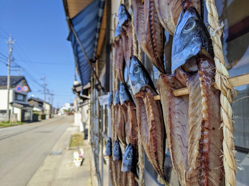 Drying fish the old-fashion way in the midday sun.