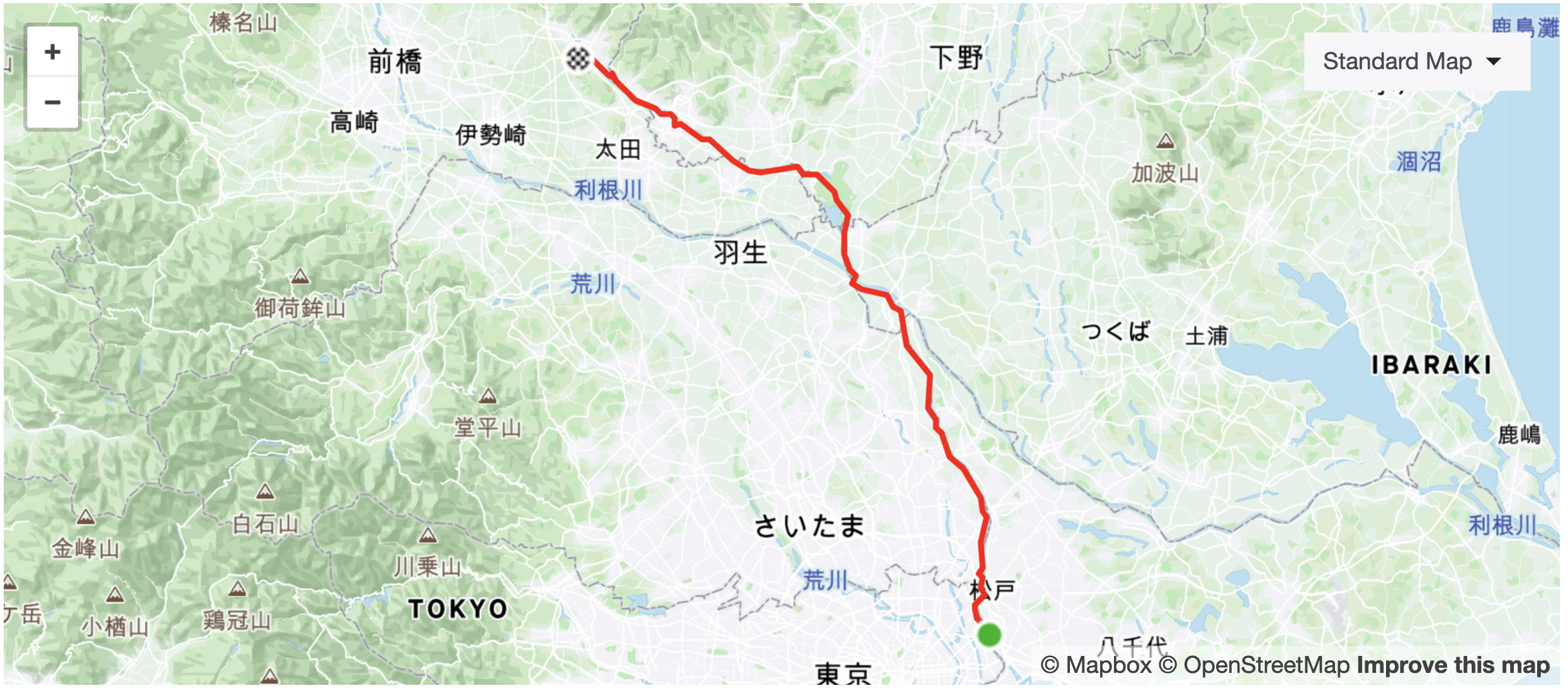 Route map of cycling between Tokyo and Kiryu City Gunma Prefecture, Japan.