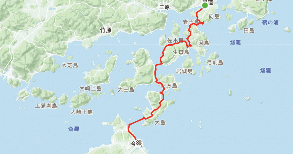 Shimanami Kaido Main Route Cycling Map.