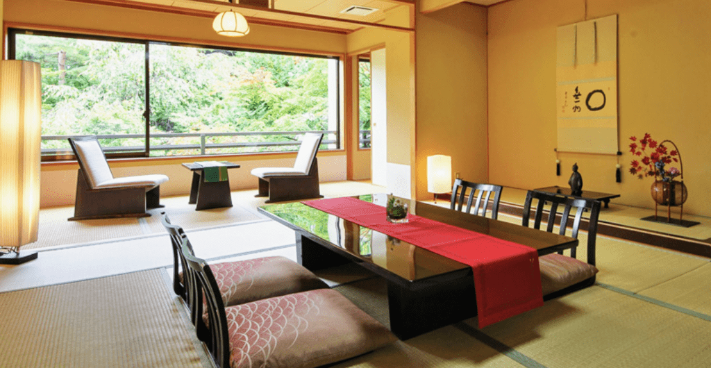 A fall setting in a traditional Japanese Washitsu Room.