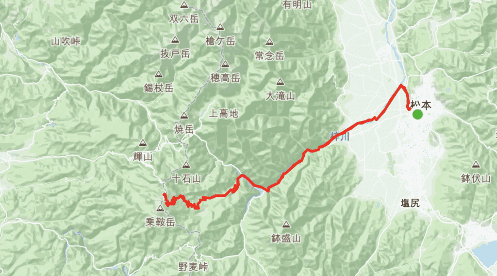 The most direct route from Matsumoto City.