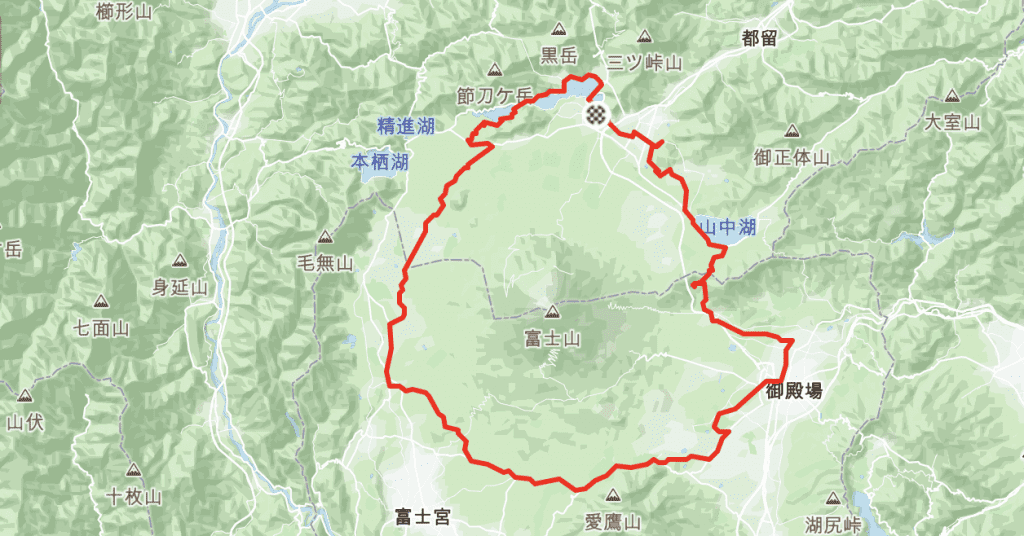 Cycling Route Around Mt Fuji Complete Lap.