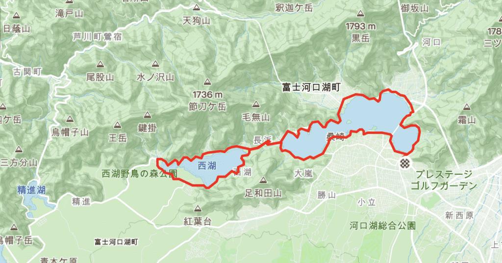Cycling Route Around Lake Lake Kawaguchiko & Lake Saiko at Mt Fuji Complete Lap.