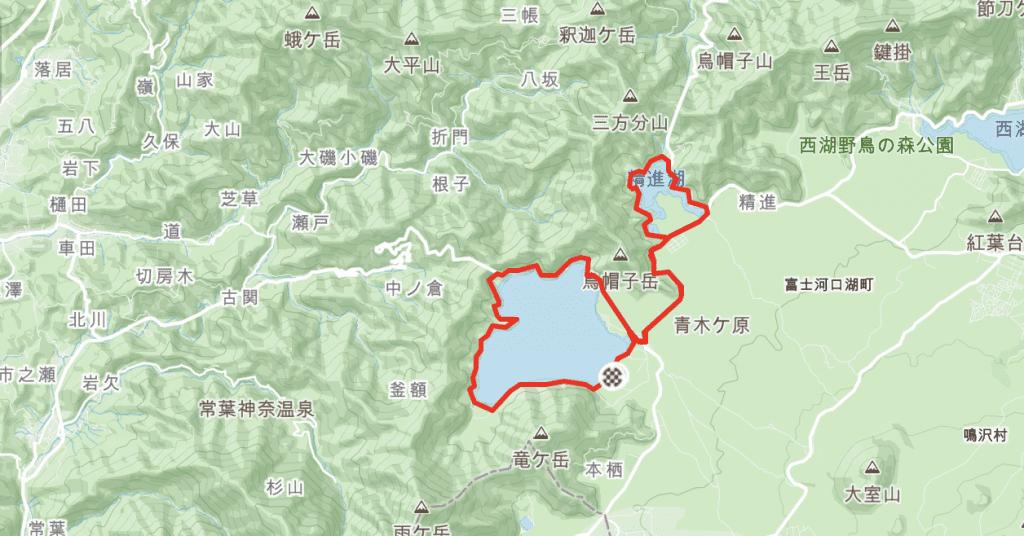 Cycling Route Around Lake Motosu & Lake Shoji at Mt Fuji.