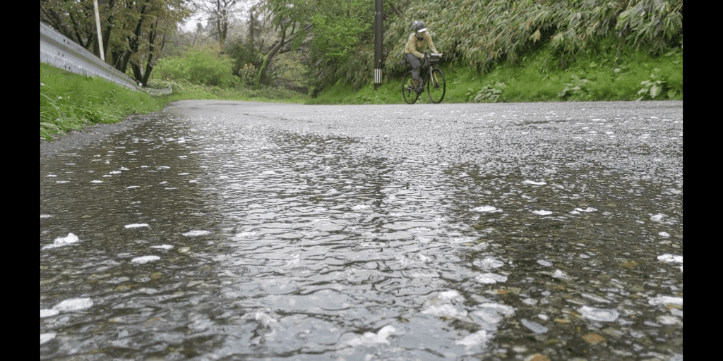 The condition of the roads on a very wet day riding the Noto Peninsula.