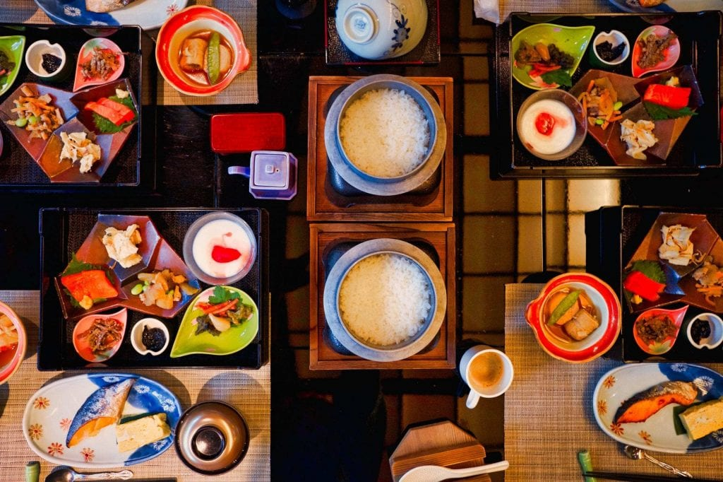 A kaiseki breakfast in all its flavorful colors.