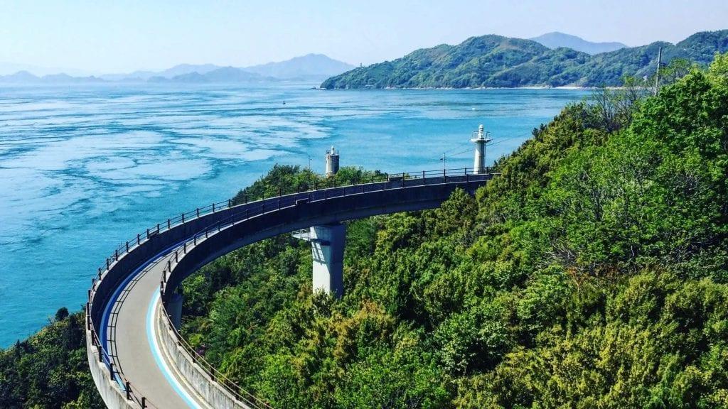 Shimanami Kaido spiral bridge up to the Kurushima Bridge.