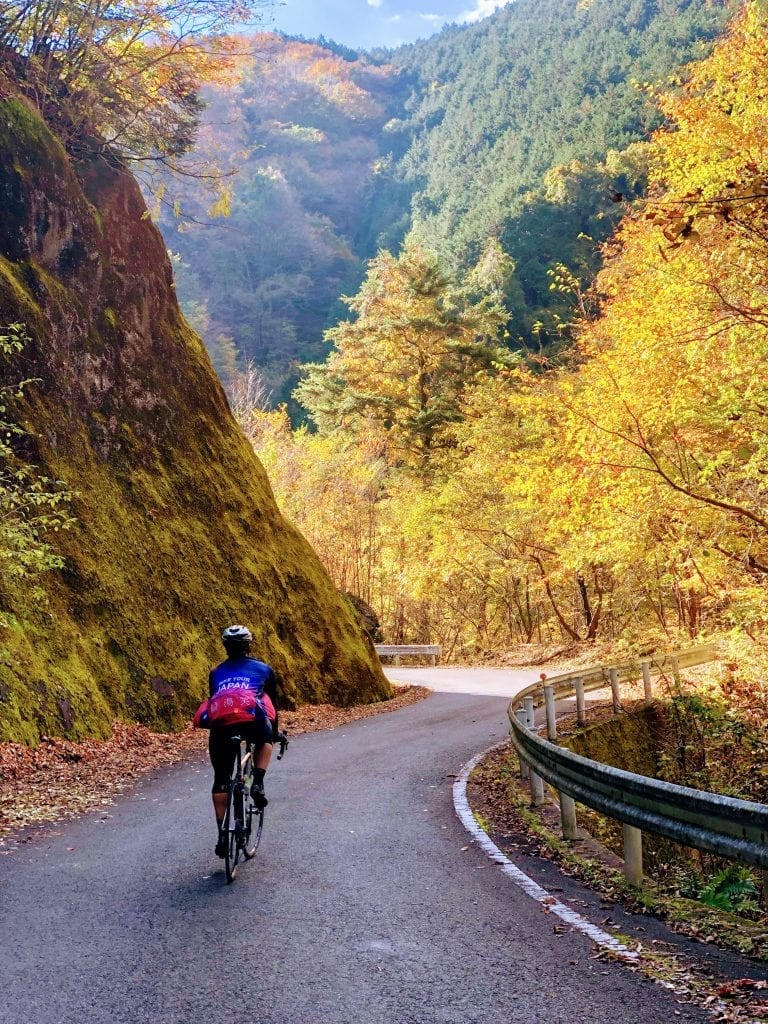 Cycling in late fall foliage in the Kiryu Alps.