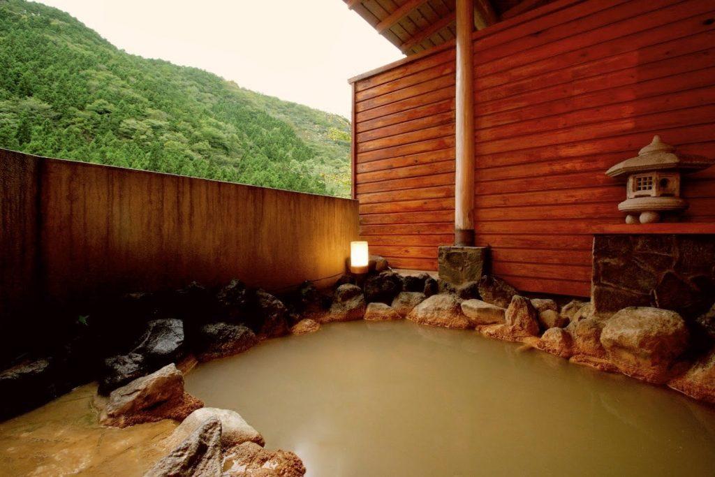 The milky iron rich onsen waters of Mt Akagi.
