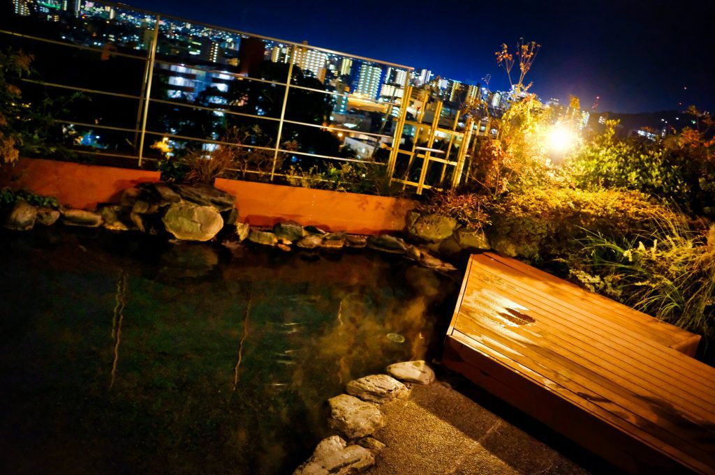 The rooftop onsen overlooking Dogo Onsen Town.