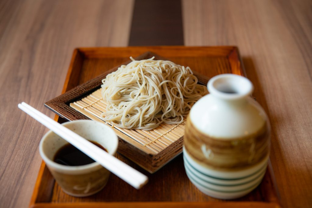 Locally grown and made buckwheat Soba noodles. The dipping sauce, called Tsuyu, is made of soysauce, mirin cooking wine, and dashi.